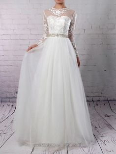 dfed2d1f317 A-line Scoop Neck Tulle Floor-length Appliques Lace Wedding Dresses  228.99
