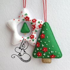 Beautiful felt Christmas ornaments with beads @paulsen0179