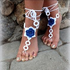 Barefoot crochet white with blue floral sandals Beautiful elegant handmade crafted barefoot sandals,made perfect for this summer 2016 fashion.white crochet with blue floral accent ! Shoes Sandals