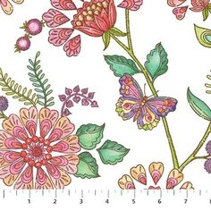 Northcott Enchanted by Jackie Von Tobel 5061 21 Scattered Floral $9.50/yd