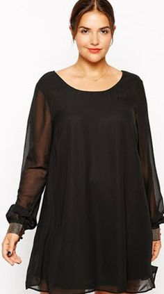 There are a special series of plus size dresses highly recommended to sexy women in plump shapes. With chiffon-like material made, this Plus Size Black Mini Dress is in a regular fit with features on sleeves, legs-loving mini length cut finished. Women's A Line Dresses, Cheap Dresses, Sexy Dresses, Cute Dresses, Short Dresses, Fashion Dresses, Fashion Shoes, Plus Size Mini Dresses, Casual Dresses Plus Size