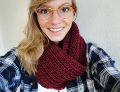 Crochet Infinity Scarf Maroon
