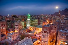 The old city of Sanaa, Yemen as the moonrises by Trevor Cole Central Asia, National Geographic Photos, Old City, Amazing Photography, Times Square, Old Things, Around The Worlds, Earth, Urban