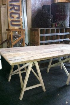 Barn Wood Dining Table Top with Truss Base