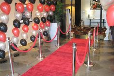 Red carpet - make your guests feel like the stars! Hollywood Party, Bar Mitzvah, Event Decor, Red Carpet, Birthday Parties, Birthdays, Event Planners, Invitations