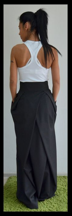 Black Long skirt Maxi loose skirt Black loose skirt