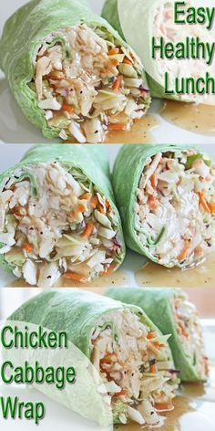 nice Healthy Lunch Recipe: Chicken and Cabbage Wrap   Clean Eating Meal Plan   Easy a...