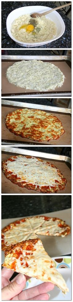 Cauliflower Crust PizzaCauliflower Breadsticks! Hardly any calories for the whole pan!  •1 large head of cauliflower •2 cloves garlic, grated or minced •2 large eggs, lightly beaten •4 oz low fat mozzarella cheese •1/2 teaspoon onion powder •salt •pepper  •Preheat oven to 450 degrees. 20 min