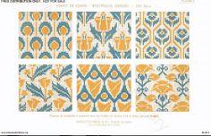 D.M.C. Point de Croix Nouveaux Dessins 2me Série, page 4, c. 1905. More stunning art nouveau and Provençale charted cross-stitch designs. All-over patterns, floral, yellow and blue