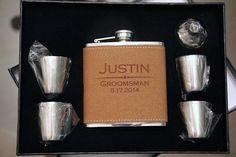 Groomsmen Gift Flask Set , Personalized Engraved Hip Flask, Mustache Liquor Flask, Monogram Flask, Best Man Gift, Wedding Party Gifts/favor