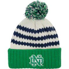fe108046356 Notre Dame Fighting Irish adidas Green Youth Lifestyle cuffed Pom Knit Hat  http