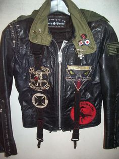 navy leather w  vintage military gear and patches Biker Leather ad417e970