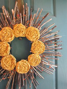 Yellow rosette wreath DIY DIY Wreaths: Cool Accents For Doors & Walls