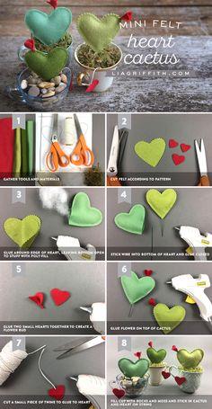Mini Felt Cactus Hearts