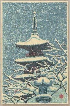 Kasamatsu Shiro: Pagoda in Snow - Japanese Art Open Database