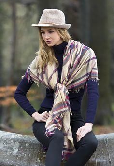 Stylish Pia Rossini tartan scarf with cory trilby hat