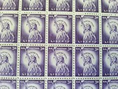 Sheet Of 100 1954 Statue Liberty 3 Cent US Postage Stamp Scott 1035