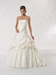 Ball gown sleeveless satin floor-length bridal gown