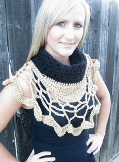 Black and Gold Crochet Scarf Unique One of a by STITCHandCABOODLE, $69.00