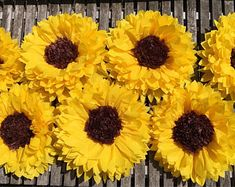Five large tissue paper sunflowers for photo backdrops, rustic wedding decor, baby or bridal showers and wall decor Paper Sunflowers, Giant Paper Flowers, Large Flowers, Fabric Flowers, Sunflower Party, Yellow Sunflower, Bat Mitzvah, Thali Decoration Ideas, Paper Daisy