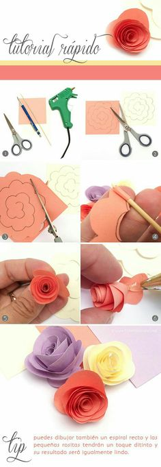 DIY Tutorial: how to make paper flowers. Easy and cute for on top of a present. Paper Flowers Diy, Felt Flowers, Flower Crafts, Fabric Flowers, Craft Flowers, Origami Flowers, Rose Flowers, Kids Crafts, Diy And Crafts