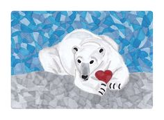 Polar Bear Greeting Card - Heart - 5x7- Blank Note Card - Instant Digital Download - pinned by pin4etsy.com