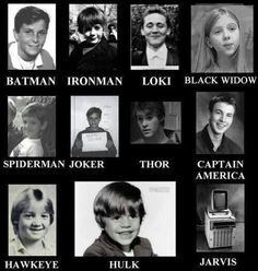 SUPER HEROES WHEN THEY WERE YOUNG! Chris Hemsworth...mmm. Little Tom is literally just too cute to get over! AND LITTLE HAWKEYE!