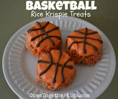 These cute chocolate-dipped krispie treat basketballs are perfect for an end-of-the-season party or any sports event