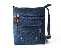 MiCoolker Unisex Blue Denim Shoulder Bag Crossbody Purse Vintage Handbag