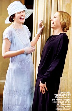 Michelle Dockery and Joanne Froggatt share a laugh on set in series 4 - Imgur