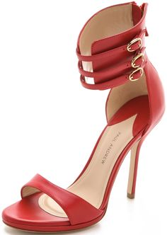 Paul Andrew Ankle Strap Heels-Flame Red
