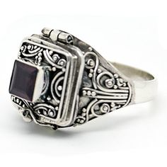 Square Smoky Quartz Poison Locket Box Sterling Silver Ring Size 10 -- Check this awesome product by going to the link at the image.