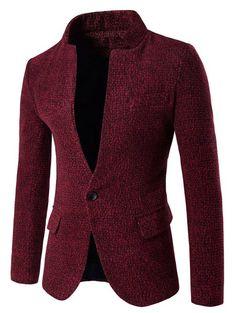 One Button Design Stand Collar Woolen Blazer