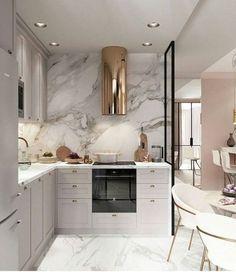 10 Cozinhas em Cinza, Branco e Dourado para te Inspirar – Letícia Granero Interiores Luxury Kitchen Design, Luxury Kitchens, Interior Design Kitchen, Home Kitchens, Grey Interior Design, Gold Interior, Outdoor Kitchens, Interior Modern, Küchen Design