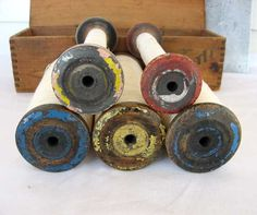 Antique Textile Mill Wooden Tall Bobbins
