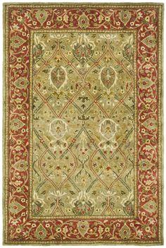 Parvati Green & Rust Oriental Wool Hand-Tufted Area Rug