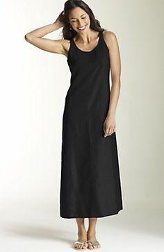 long linen tank dress