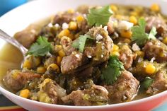 Fork-tender pork, roasted poblanos and tangy tomatillos make this hearty stew flavorful and rich. At under 350 calories per serving, this one pot meal is guilt-free and WeightWatchers friendly.
