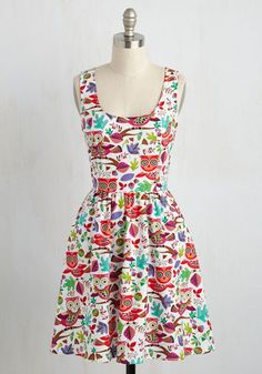 Knock Knock, Hoot's There? Dress - Multi, Print with Animals, Novelty Print, Print, Casual, Critters, Sleeveless, Summer, Woven, Better, Mid-length, Cotton, White, Pockets, Sundress, Fit & Flare