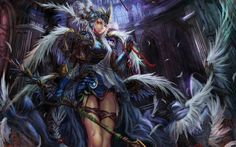 wings weapons fantasy art yellow eyes anime white hair anime girls wallpaper background