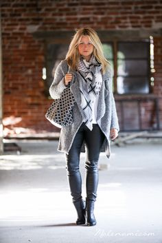 Cardigan and leather pants