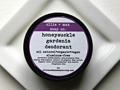 HONEYSUCKLE GARDENIA Natural Deodorant Aluminum Free 2oz Cream Deodorant, Organic Deodorant,Vegan Deodorant