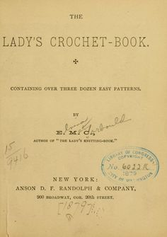"""""""The Lady's Crochet Book"""" by Elvina Mary Corbould, 1879. Full text."""