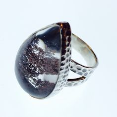 A sea garden in a ring. Lodolite and sterling silver ring with hammered finish.
