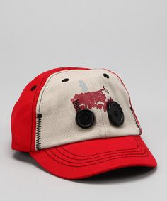 Take a look at this Red & Khaki Button Tractor Baseball Cap by International Harvester on #zulily today!