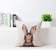 Premium Bunny Pillow Cover with Adorable Watercolor Art Design Spring Home Decor Linen Cushion Woodlands Animals