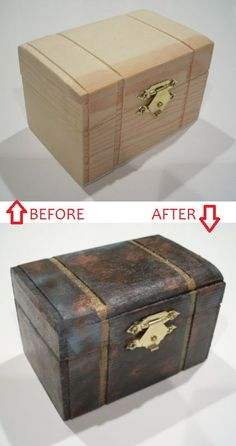 Easy craft project, paint wooden trinket boxes #steampunk - Crafters In Disguise