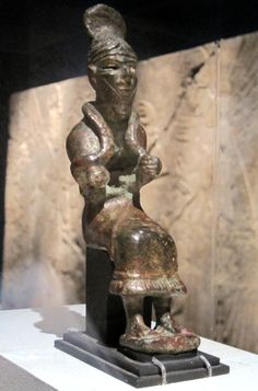 Copper statue of the Sun God Shamash, dating back to 1700-1600 BCE. Shamash, the Babylonian god of justice, is depicted on the famous Code of Hammurabi. The sun is named after him in Arabic, Hebrew and Syriac. Brooklyn Museum, Brooklyn, NY.  Photo by Babylon Chronicle