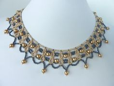 DIY Jewelry: FREE beading pattern for a lovely beaded lace necklace with gold pearls and gold and black seed beads