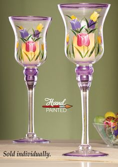 Spring Tulip Stemmed Candle Holder